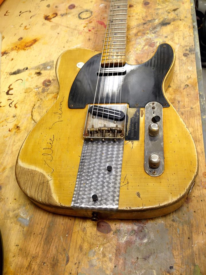 Carson Hess's Replica of Danny Gatton's 1953 Telecaster on his workbench