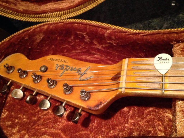 Detail neck cigarette burn -Carson Hess's Replica- Danny Gatton's '53 Tele