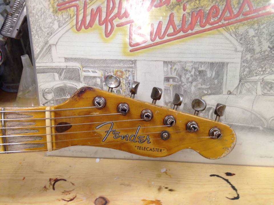 "Detail neck cigarette burn - Replica of Danny Gatton's 1953 Telecaster by ""Unfinished Business"" LP"
